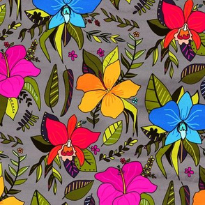 Tropical Floral On Grey (Small Version)