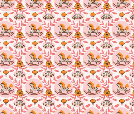 Horses and cars fabric by alenkakarabanova on Spoonflower - custom fabric