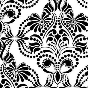 Elegant Arabesque Negro Blanco