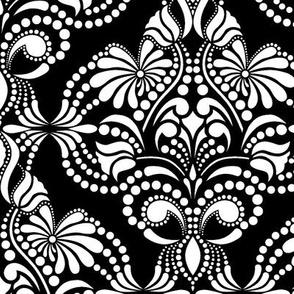 Elegant Arabesque Blanco Negro