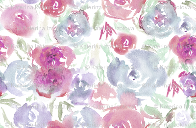 Watercolor saturated flowers, smaller scale