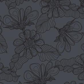 Gray Flowers on Light Gray