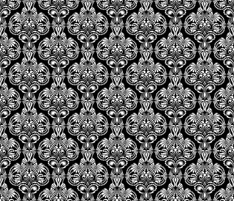 Elegant Arabesque Blanco Negro Small fabric by artsytoocreations on Spoonflower - custom fabric