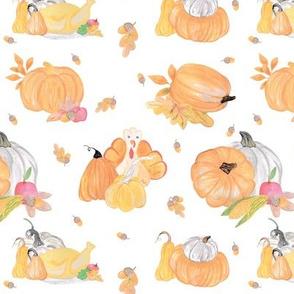 Thanksgiving day pumpkin and turkey pattern