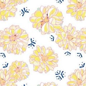 White festive seamless pattern with yellow dahlias