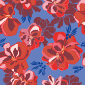 Blue repeat pattern with red geranium