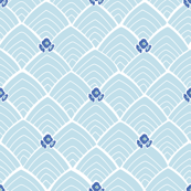 Blue ornamental repeat pattern with blue blossoms