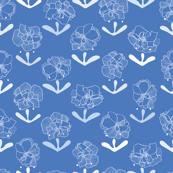 Blue floral repeat pattern with white blossoms