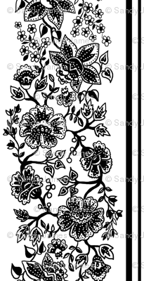Black and White Jacobean Wallpaper