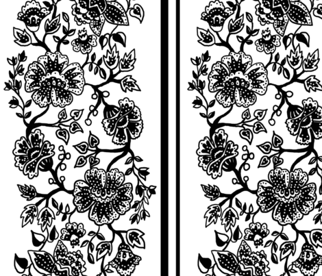 Black and White Jacobean Wallpaper fabric by leroyj on Spoonflower - custom fabric