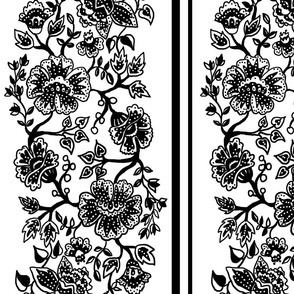 Black and White Jacobean Wallpaper