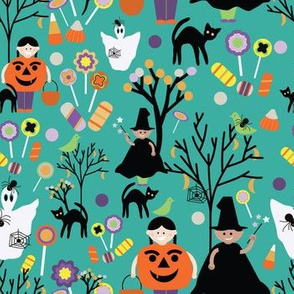 Halloween pattern on green background