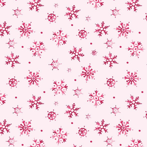 Watercolor Snowflakes Red