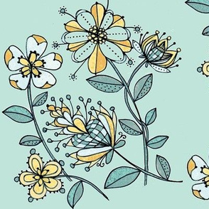 Floral bouquet-teal ground