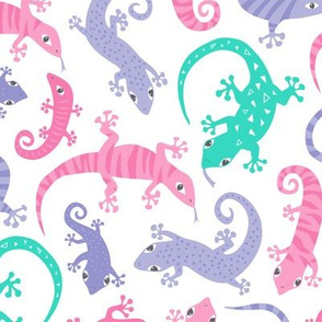 Cute Lizards Pink Purple Mint