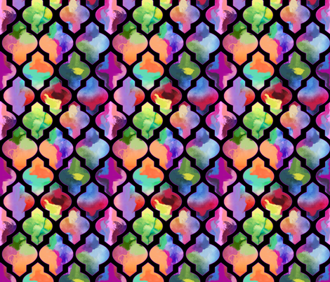 Rainbow Painted Moroccan Tile Ogee Pattern // Black  fabric by theartwerks on Spoonflower - custom fabric