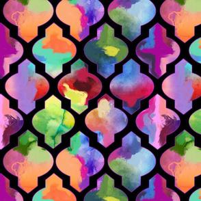Rainbow Painted Moroccan Tile Ogee Pattern // Black