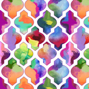 Rainbow Painted Moroccan Tile Ogee Pattern // White