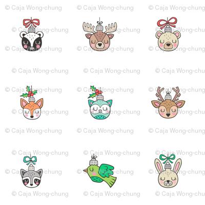 Christmas  Holidays Forest Woodland Animals Ornaments Pillow Plush Plushie Softie Cut & Sew 6 cm