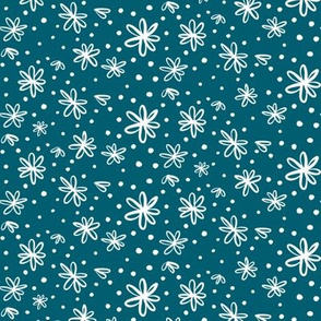 Flowers and Dots (white on teal blue)