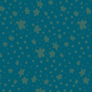 Tiny Flowers and Dots - green on blue, coordinate 4