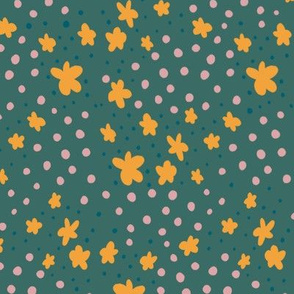 Tiny Flowers and Dots - yellow, blue and pink on green, coordinate 4