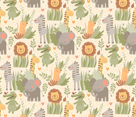 Little Jungle fabric by lisa_kubenez on Spoonflower - custom fabric