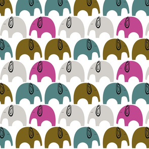Elephants jungle animal Gender neutral with pink and teal