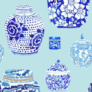 Chinoiserie Ginger Jar Collection in Ice Blue