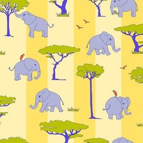 elephants in the savanna - lilac