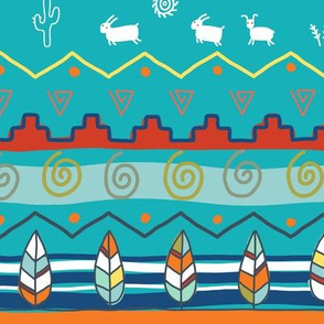 native america textile aqua