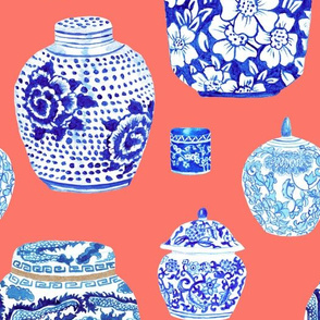 Chinoiserie Ginger Jar Collection in Neon Peach Coral