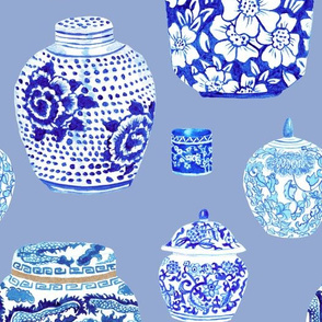 Chinoiserie Ginger Jar Collection in Delft Blue