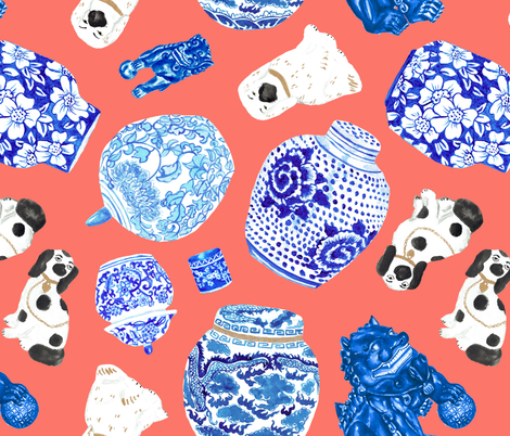 Chinoiserie Curiosity Cabinet Toss in Neon Peach Coral fabric by elliottdesignfactory on Spoonflower - custom fabric