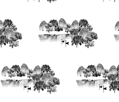 Zen Lake, Black & White fabric by anneostroff on Spoonflower - custom fabric