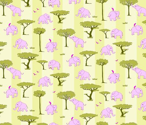 elephants in the savanna - pink fabric by michaelakobyakov on Spoonflower - custom fabric