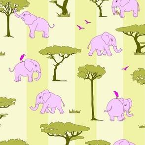 elephants in the savanna - pink