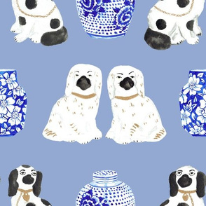 Staffordshire Dogs + Ginger Jars in Delft Blue