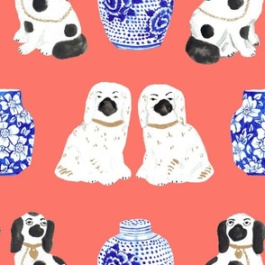 Staffordshire Dogs + Ginger Jars in Neon Peach Coral