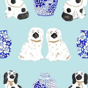 Staffordshire Dogs + Ginger Jars in Ice Blue