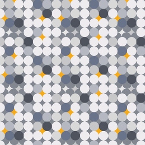 Gold and grey circles geometric pattern