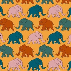 elephants walking - limited colours