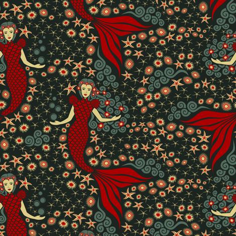 Mermaid Garden fabric by studioxtine on Spoonflower - custom fabric