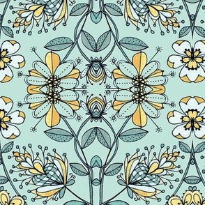 Floral trellis w/bees-teal ll