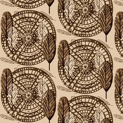 Boho Wild Feathers  / Neutral  fabric by franbail on Spoonflower - custom fabric