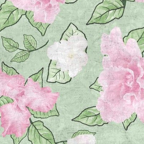 Flower Play- Large Antique Pale Pink Green