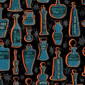 Animal Anatomy Potion Bottles with Spiders and Webs in Orange, Teal, Turquoise, and Gray on Black // Halloween Creepy Fun // Glass Containers with Silly Contents