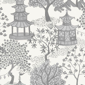 Pagoda Forest in charcoal on off white