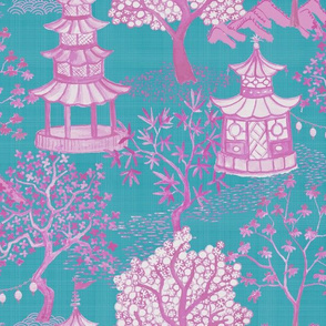 Pagoda Forest in Magenta on Turquoise
