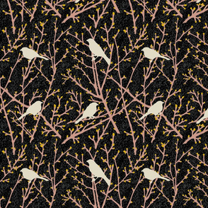 branchy birds -black/eggshell/putty